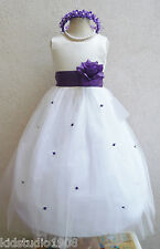 BEAUTIFUL NEW IVORY PURPLE FUCHSIA BLUE FLOWER GIRL BABY CHILDREN PARTY DRESS