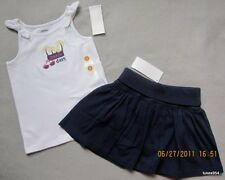 Gymboree Cape Cod Cutie Navy Blue Skirt Skort White Palm Tank Top Shirt 4, 8 NWT