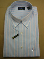 NWT CLUB ROOM EASY CARE BLUE STRIPE SHIRT 15.5/16/17/18