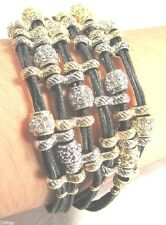 Leather Bracelet-Multi-strand with Silver/Gold/Copper