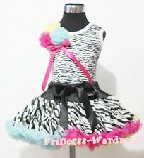 Rainbows Zebra Pettiskirt with Zebra Pettitop Top in Rosettes and Bow Set 1-8Y