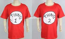 DR SEUSS CAT IN THE HAT THING 1 Or 2 Kids Red T-shirt Shirt Costume Cotton Youth