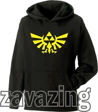 THE LEGEND OF ZELDA UNISEX BLACK HOODIE HOODY TRIFORCE -CREST OF HYRULE WII PSP