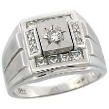 Sterling Silver Men's Frosted Stripe Sides Square Ring   #rcz803