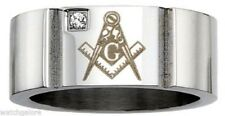 Men's 10mm Stainless Steel Masonic Freemason Mason Blue Lodge Ring with Crystal
