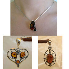 BALTIC HONEY or MULTICOLOR AMBER & STERLING SILVER SUN or MODERN PENDANT