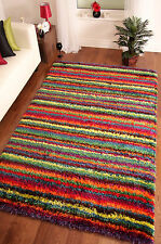 ULTRA MODERN MULTI COLOUR SUPER SOFT THICK SHAGGY RUG LARGE SMALL 3 SIZES RIO