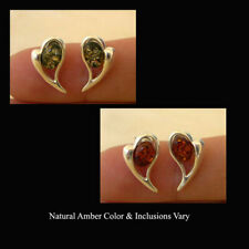 BALTIC HONEY or GREEN AMBER & STERLING SILVER HEART STUD EARRINGS