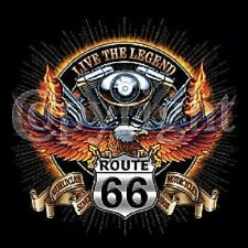 VTWIN ENGINE LEGEND ROUTE 66 BIKER EAGLE LONG SLEEVE T SHIRT W/FREE HARLEY DECAL