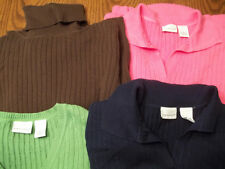 KIM ROGERS LADIES WOMANS LARGE SWEATERS COTTON TOP PINK NAVY BROWN GREEN