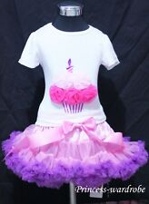 Light Pink Purple Pettiskirt with Hot Light Pink Rose Birthday Cake Tank Top1-8Y