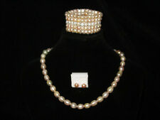 Complete Freshwater Pearl Set: with Stud Earrings, Necklace and 5 Layer Bracelet