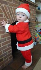 Baby Toddler One-Piece Santa with Hat Christmas Outfit Xmas Costume 9-36 months