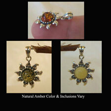BALTIC HONEY, GREEN or WHITE AMBER & STERLING SILVER SUN PENDANT CHARM