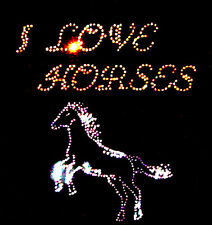 I LOVE  HORSES LADIES FITTED T SHIRT WITH RHINESTUD DESIGN (any size 8 to 18)