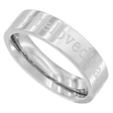 """5mm Stainless Steel """"I am my beloveds and my beloved is mine"""" Band Ring"""