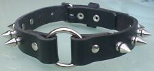 Black Leather Spiked O-Ring Choker Necklace 20mm Hand Made Real Leather Goth