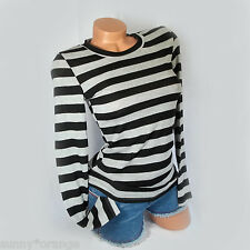 New Black Gray striped long sleeve top M L  juniors stretchy soft light sweater