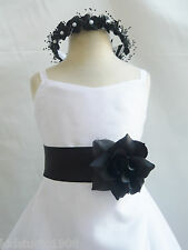 NEW WHITE BLACK WEDDING DAVIDS BRIDESMAID FLOWER GIRL DRESS 1 2 4 6 8 10 12 14