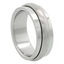 8mm Stainless Steel Spinner Ring w/ Domed Matte Center