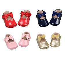 NEW Baby Girls Infant Patent Leather Shoes Perwalk Toddler Soft Soles Shoes 0-5