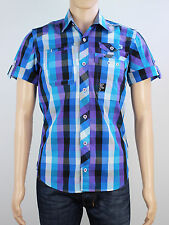 NEW Duck & Cover mens Size S purple blue check short sleeve shirt
