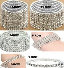 New Crystal Rhinestone Bangle Stretch Bracelet 1 3 5 7 10 or 12 Rows (WH22)