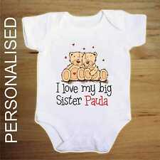 TEDDY BEAR personalised I LOVE my big sister baby vest