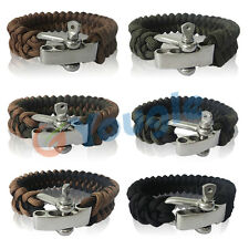 550 Parachute Cord Paracord Survival Bracelet with Adjustable Metal Shackle