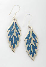 Tumi crushed turquoise Mexican earrings leaf design inlaid hand made  fairtrade