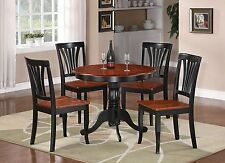 "3 PC WESTON DINETTE KITCHEN TABLE w/ 2 WOOD SEAT CHAIRS, BLACK / BROWN 36"" ROUND"