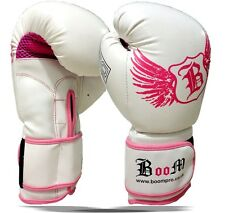 BOOM Pro Ladies Leather GEL Boxing Gloves,Bag Gloves,MMA,Muay Thai, KICK BOXING