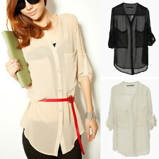 Women Collarless Button-front See-through Long Sleeve Chiffon Shirts Blouse Top