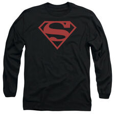 Superboy Costume Red On Black Shield Officially Licensed Long Sleeve Shirt S-2XL