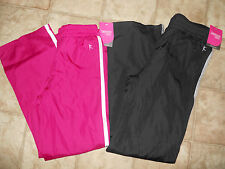 Girls Athletic Woven Track Pants Black Pink Active Danskin Now Size S M L XL NEW