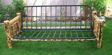 Rustic Pine Log & Metal Full Size FUTON Frame, corral, lodge, cabin, bed, couch