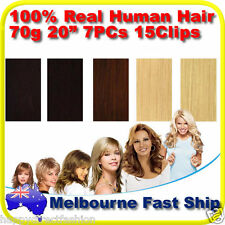 "Clip in REMY Real Human Hair Extensions 20"" 70g 7PCs on Black Brown Blonde"
