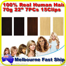 "Clip in REMY Real Human Hair Extensions 22"" 70g 7PCs on Black Brown Blonde"