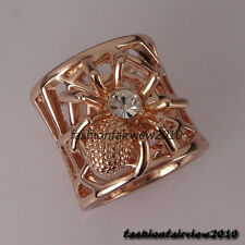 New 18K Rose Gold GP Swarovski Crystal Spider Cocktail Ring VR186B