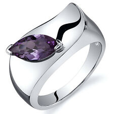 Marquise Cut 1.25 cts Alexandrite Ring Sterling Silver Sizes 5 to 9