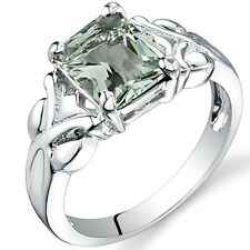 2.00 cts Radiant Cut  Green Amethyst Ring Sterling Silver Size 5 to 9