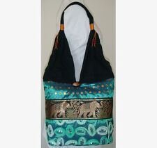 Thai Hobo Bag with Sequins & Elephants Style J, many Colours made in Thailand!