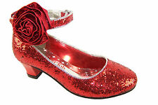 Girls red glitter party shoes with detachable rose trim and velcro ankle strap