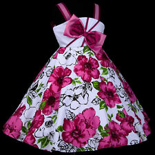 w801 r8 UsaG White Magenta Halloween Birthday Party Flower Girls Dress 2,3,4-12y