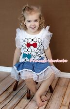 Bow tie Print Top Gown Pageant Girl Party Skirt Evening Dress 2PC Set 2-7Y PD013