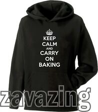 KEEP CALM AND CARRY ON BAKING UNISEX HOODIE COOKING CUP CAKE CHEF KITCHEN GIFT