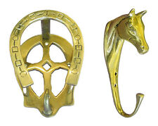 Real Brass Bridle/Stable/Tack Hook - Horses Head or Horse Shoe Shape