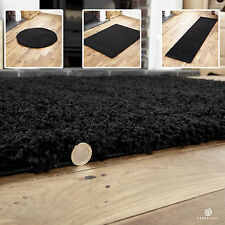 NEW EXTRA LARGE-LARGE-MEDIUM-SMALL AND CIRCLE BLACK 5cm THICK SHAGGY RUG &RUNNER