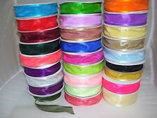 Satin Edge Organza Ribbon 10mm 19mm 25mm 38mm All Colours Available Satin Edged