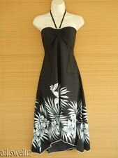 Tropical Halter Butterfly Party Luau Cruise Black Floral Smock Dress